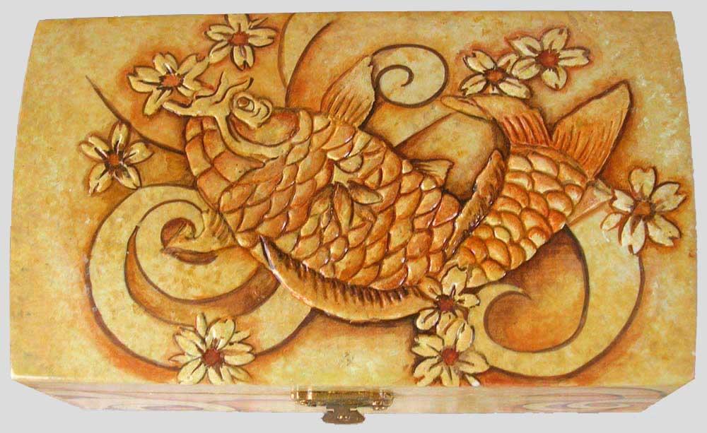 Favorito Pittura su contenitori in legno, scrigni decorati a rilievo o con  YC01