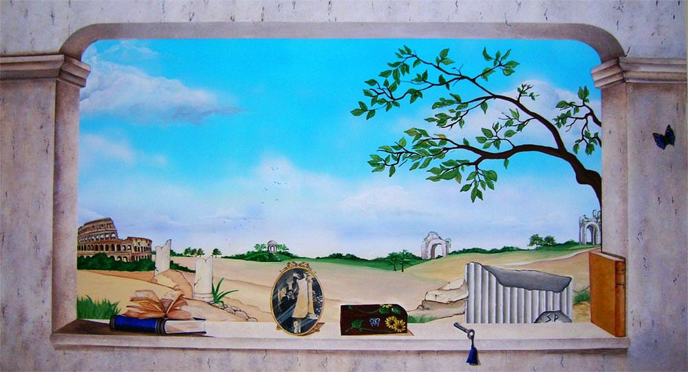 Decorazione dinterni fantasy, Trompe loeil murali e con tecnica dei...